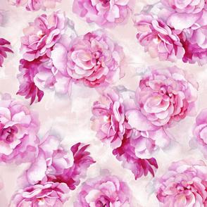 Watercolor pink roses pattern