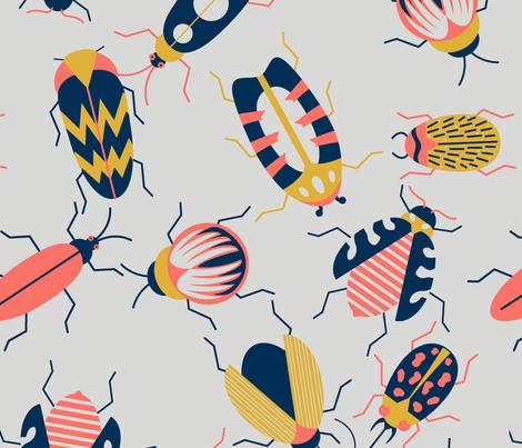 Cuddle Bug --Cream Large  fabric by natalee_wegmann on Spoonflower - custom fabric