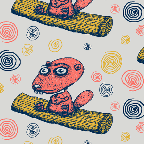 cute little beaver sitting on a log contemplating life, large scale, gray grey coral yellow navy dark blue fabric by amy_g on Spoonflower - custom fabric