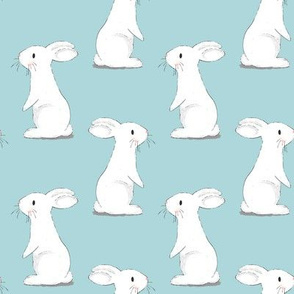 Bunny Rabbits - small scale on Blue