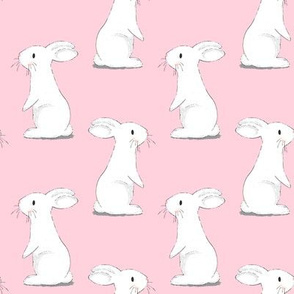 Bunny Rabbits - small scale on Pink