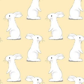 Bunny Rabbits - small scale on Light Lemon Yellow