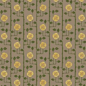 Rose Trellis Gold flowers - small