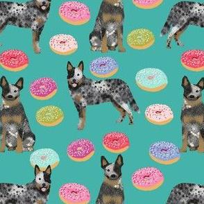 australian cattle dog donuts fabric - donuts fabric, dog donut, food fabric, cute dog fabric, pet friendly fabric - blue heeler - teal