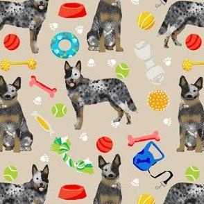 australian cattle dog toys fabric - dog toys fabric, dog fabric, dog breeds fabric, cattle dog fabric - blue heeler - tan
