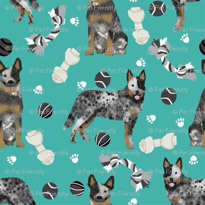 australian cattle dog toys fabric - dog toys fabric, dog fabric, dog breeds fabric, cattle dog fabric - blue heeler - teal