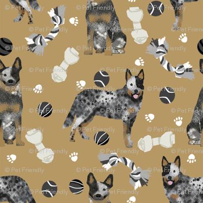 australian cattle dog toys fabric - dog toys fabric, dog fabric, dog breeds fabric, cattle dog fabric - blue heeler - brown