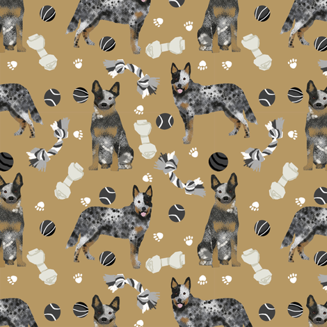 australian cattle dog toys fabric - dog toys fabric, dog fabric, dog breeds fabric, cattle dog fabric - blue heeler - brown fabric by petfriendly on Spoonflower - custom fabric