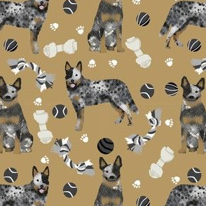 australian cattle dog toys fabric - dog toys fabric, dog fabric, dog breeds fabric, cattle dog fabric - blue heeler - brown