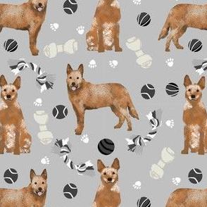 australian cattle dog toys fabric - dog toys fabric, dog fabric, dog breeds fabric, cattle dog fabric - red heeler - grey