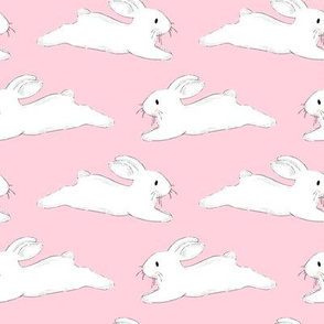 Leaping White Bunnies on Pink