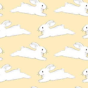 Leaping White Bunnies on Yellow