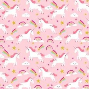smaller - pink unicorn fabric, rainbow fabric, girls unicorn fabric