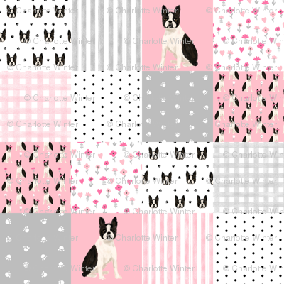 "1.5"" square boston terrier cheater quilt, patchwork fabric, dog pattern, dog design, pink"