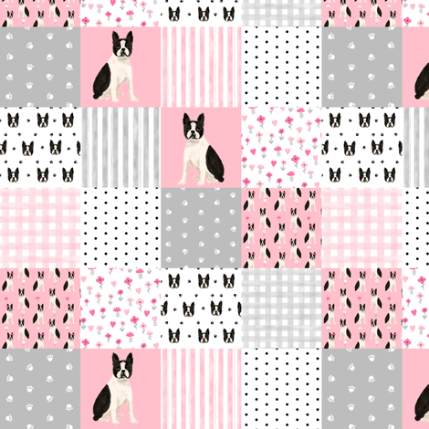 "1.5"" square boston terrier cheater quilt, patchwork fabric, dog pattern, dog design, pink fabric by charlottewinter on Spoonflower - custom fabric"