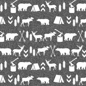 woodland camping silhouette - charcoal linen, camping outdoors fabric, lumberjack fabric