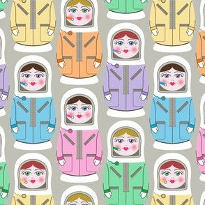 Matryoshka Space Travellers on Grey