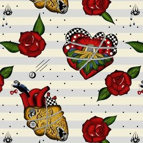 Rockabilly tattoo fabric