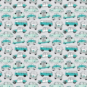 Cute vintage cars illustration with oldtimers and vw bus in beige and blue illustration pattern for boys SMALL