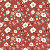 Rust Red Meadow Beige Flowers with Yellow and Blue