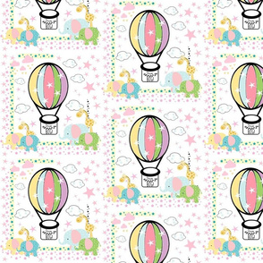 elephant giraffe polka balloon - MED 7 pink