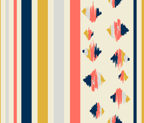 Coral stripe fabric by designbyraly on Spoonflower - custom fabric