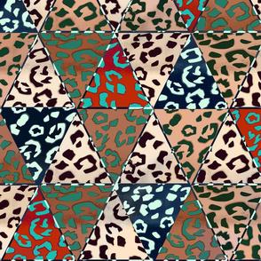 Jaguar Skin in triangles. Patchwork.