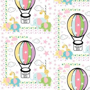 elephant giraffe polka balloon - LARGE 105 pink