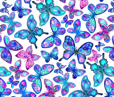Watercolor Fruit Patterned Butterflies - aqua and sapphire - large fabric by micklyn on Spoonflower - custom fabric