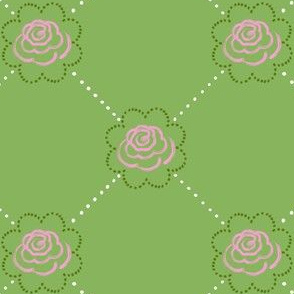 Garden Rose Lattice - Green