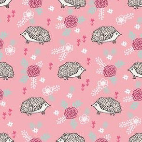 spring floral hedgehog fabric - soft feminine floral hedgehog, hedgehog fabric, floral fabric, baby girls fabric, baby girl, nursery fabric - pink