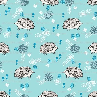 spring floral hedgehog fabric - soft feminine floral hedgehog, hedgehog fabric, floral fabric, baby girls fabric, baby girl, nursery fabric - blue