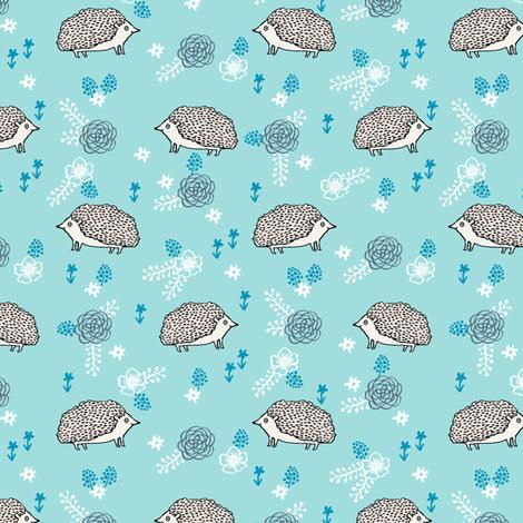 spring floral hedgehog fabric - soft feminine floral hedgehog, hedgehog fabric, floral fabric, baby girls fabric, baby girl, nursery fabric - blue fabric by andrea_lauren on Spoonflower - custom fabric