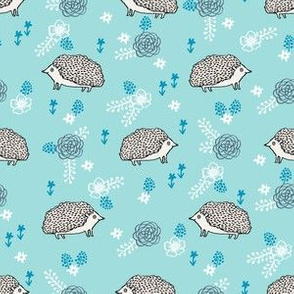 spring floral hedgehog fabric - soft feminine floral hedgehog, hedgehog fabric, floral fabric, baby girls fabric, baby girl, nursery fabric - blue
