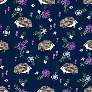 spring floral hedgehog fabric - soft feminine floral hedgehog, hedgehog fabric, floral fabric, baby girls fabric, baby girl, nursery fabric - navy