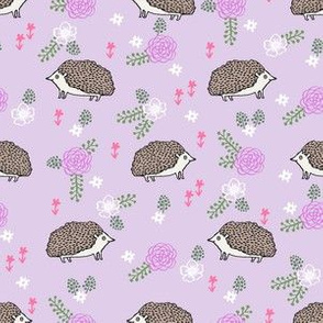 spring floral hedgehog fabric - soft feminine floral hedgehog, hedgehog fabric, floral fabric, baby girls fabric, baby girl, nursery fabric - purple
