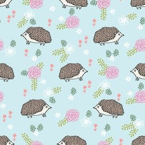 spring floral hedgehog fabric - soft feminine floral hedgehog, hedgehog fabric, floral fabric, baby girls fabric, baby girl, nursery fabric - light blue