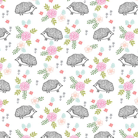 spring floral hedgehog fabric - soft feminine floral hedgehog, hedgehog fabric, floral fabric, baby girls fabric, baby girl, nursery fabric - simple fabric by andrea_lauren on Spoonflower - custom fabric
