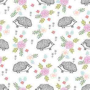 spring floral hedgehog fabric - soft feminine floral hedgehog, hedgehog fabric, floral fabric, baby girls fabric, baby girl, nursery fabric - simple