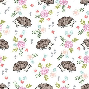 spring floral hedgehog fabric - soft feminine floral hedgehog, hedgehog fabric, floral fabric, baby girls fabric, baby girl, nursery fabric -brown