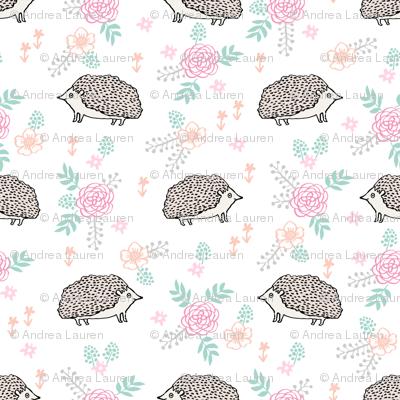 spring floral hedgehog fabric - soft feminine floral hedgehog, hedgehog fabric, floral fabric, baby girls fabric, baby girl, nursery fabric - white