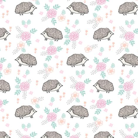 spring floral hedgehog fabric - soft feminine floral hedgehog, hedgehog fabric, floral fabric, baby girls fabric, baby girl, nursery fabric - white fabric by andrea_lauren on Spoonflower - custom fabric