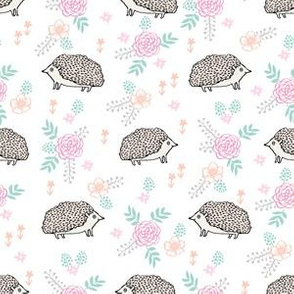 spring floral hedgehog fabric - soft feminine floral hedgehog, hedgehog fabric, floral fabric, baby girls fabric, baby girl, nursery fabric - white