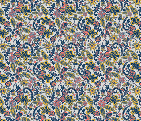 Floral Coloring Book fabric by eraerica on Spoonflower - custom fabric