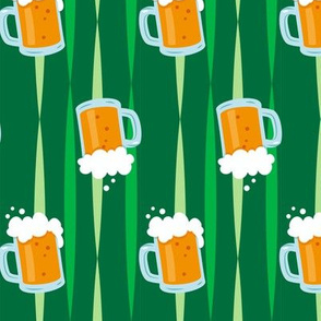 St Patrick's Day Green Beer Mugs on Kelly Green