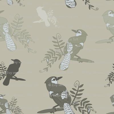 Green_Beige_Birds_Leaves_Stock