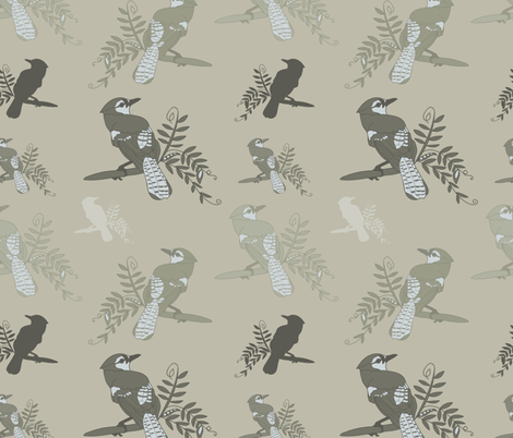 Green_Beige_Birds_Leaves_Stock fabric by evy_v_design on Spoonflower - custom fabric