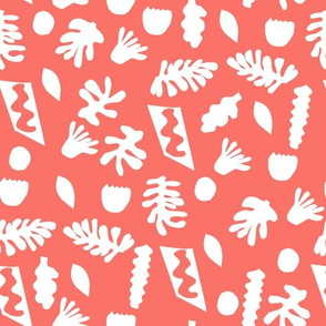 cut outs fabric - matisse fabric, coral fabric, living coral fabric, color of the year fabric, pantone fabric -  coral