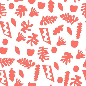 cut outs fabric - matisse fabric, coral fabric, living coral fabric, color of the year fabric, pantone fabric - white