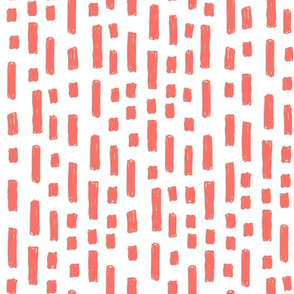 dashes fabric - coral fabric, living coral fabric, pantone fabric, - white